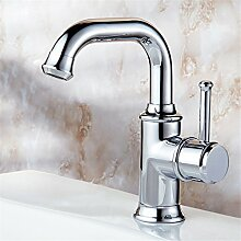 SADASD Badezimmer Hahn voll Kupfer weiß Mischbatterien Küche Einloch Qualität Haus Bad Dekoration Waschbecken Wasserhahn ?Warmes und kaltes Wasser) mit Schlauch