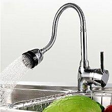 SADASD Badezimmer Waschbecken Armatur Küchenarmatur einzelne Bohrung kaltes Wasser bis 360° Rollen drehen