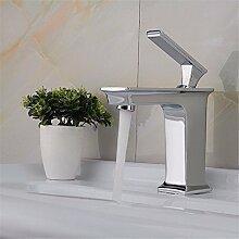 SADASD Badezimmer Waschbecken Wasserhahn alle Kupfer heißen und kalten Becken Wc Waschtisch Armatur Waschbecken Badezimmer einzelne Bohrung auf Becken