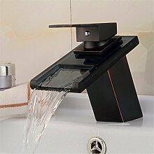 SADASD Badezimmer Waschbecken wasserhahn Continental Retro Schwarz Antik Kupfer gemischt mit warmen und kalten Becken an der Unterseite eines Tischs Becken einzelne Bohrung Single Duckbill Wasserfall Wasserhahn