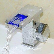SADASD Badezimmer Waschbecken Wasserhahn hydraulischen Driveledspontaneous Optische heiße und kalte Tauchbecken Einloch Einzel WC Waschbecken Mischbatterie