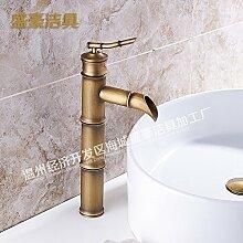 SADASD Badezimmer Waschbecken Wasserhahn im Badezimmer Waschbecken mit warmen und kaltem Wasser wird angehoben und die einzelne Bohrung Waschbecken Wasserhahn Kunst Waschbecken mit warmen und kaltem Wasser
