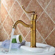 SADASD Badezimmer Waschbecken Wasserhahn Kupfer American Retro Sitzbank Becken mit einem minimalistischen und zeitgemäßen gehobenen Wasserhähne im Bad (warmes und kaltes Wasser)