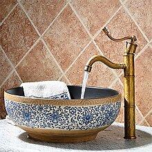 SADASD Badezimmer Waschbecken Wasserhahn Kupfer American Retro Sitzbank Becken mit einem minimalistischen und zeitgemäßen gehobenen Wasserhähne im Bad Mit 3/8 Schlauch (warmes und kaltes Wasser)