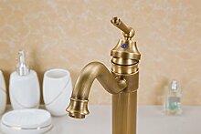 SADASD Badezimmer Waschbecken Wasserhahn Kupfer antik Badezimmer Waschtisch Waschbecken Einloch Qualität Moderne Möbel Badezimmer Armatur (heißes und kaltes Wasser)