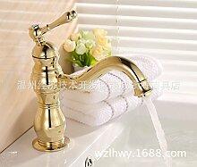 SADASD Badezimmer Waschbecken Wasserhahn Kupfer antik einzelne Bohrung Single Stage Becken Europäischen modernen gehobenen Möbel Badezimmer Armatur (heißes und kaltes Wasser)