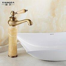 SADASD Badezimmer Waschbecken Wasserhahn Kupfer antiken europäischen Antike Waschbecken im Badezimmer Schrank Einloch Qualität Moderne Möbel Badezimmer Armatur (heißes und kaltes Wasser)