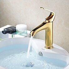 SADASD Badezimmer Waschbecken Wasserhahn Kupfer Continental Gold Standard Badarmaturen ?heißes und kaltes Wasser)
