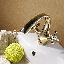 SADASD Badezimmer Waschbecken Wasserhahn Kupfer Einloch einzigen Griff Becken mit Verchromt mit einem minimalistischen und zeitgemäßen gehobenen Wasserhähne im Bad (warmes und kaltes Wasser)