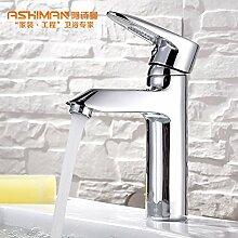 SADASD Badezimmer Waschbecken Wasserhahn Kupfer einzelne Bohrung unter Waschbecken mit einem minimalistischen und zeitgemäßen gehobenen Wasserhähne im Bad (warmes und kaltes Wasser)