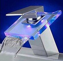 SADASD Badezimmer Waschbecken Wasserhahn Kupfer Farbe Temperaturregelung Verfärbung Squglass mit Licht Wasserfall Upscale Home Bäder mit Schlauch Waschbecken Armaturen (heißes und kaltes Wasser)