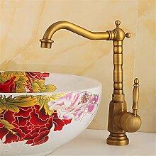 SADASD Badezimmer Waschbecken Wasserhahn Kupfer hoch moderne Küchenspüle Waschtisch Armatur (heißes und kaltes Wasser)