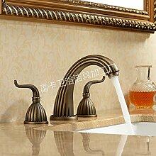 SADASD Badezimmer Waschbecken Wasserhahn Kupfer im europäischen Stil mit antiken Bühne Pull-Type Waschbecken Plattform unter dem gehobenen Professionelle upscale Badezimmer Badezimmer Armaturen ?heißes und kaltes Wasser)