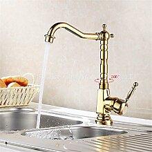 SADASD Badezimmer Waschbecken Wasserhahn Kupfer Küche Titan einzelne Bohrung Bad Armatur ?heißes und kaltes Wasser)
