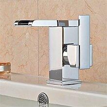 SADASD Badezimmer Waschbecken Wasserhahn Kupfer Light3 Duplex Bad Armatur ?warmes und kaltes Wasser LED)
