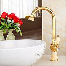 SADASD Badezimmer Waschbecken Wasserhahn Kupfer Titan Gold Sitzbank Becken Jade Küche Badezimmer Armaturen ?heißes und kaltes Wasser)