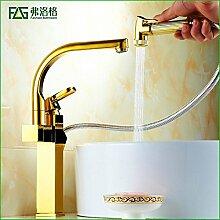 SADASD Badezimmer Waschbecken Wasserhahn Kupfer ziehen Gold mit Regen drehen Sie das Teleskop auf Becken Vergoldete upscale Badezimmer angehoben Taps ?heißes und kaltes Wasser)