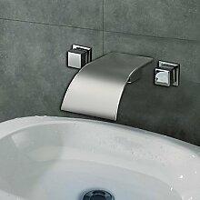 SADASD Badezimmer Waschbecken wasserhahn Mode moderne Badezimmer Wasserfall Waschbecken Wasserhahn Nickel gebürstet Waschbecken Mischbatterie einzelne Bohrung (heißes und kaltes Wasser)