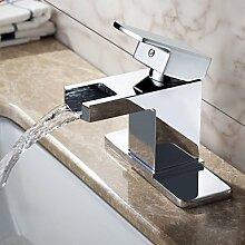 SADASD Badezimmer Waschbecken wasserhahn Mode moderne Badezimmer Badezimmer Waschen Badezimmer Waschbecken Armatur Waschbecken Waschbecken Wasserfall Einloch Kupfer Tisch Waschbecken Wasserhahn (heißes und kaltes Wasser)