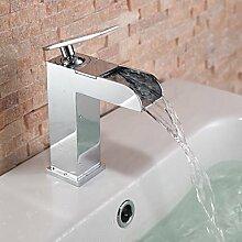 SADASD Badezimmer Waschbecken wasserhahn Mode moderne Wasserfall Wasserhahn Einloch einzigen Griff Waschbecken Wasserhahn Mischbatterie (heißes und kaltes Wasser)