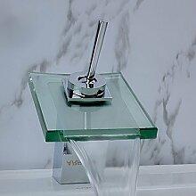 SADASD Badezimmer Waschbecken wasserhahn Mode moderne Wasserfall Chrom Waschbecken Mischbatterie Monoblock Badezimmer Schiff Waschbecken Wasserhahn (heißes und kaltes Wasser)