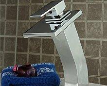 SADASD Badezimmer Waschbecken Wasserhahn personalisierte Led Wasserfall Becken aus Kupfer Heiß und Kalt unter Einloch Mischbatterie Wash-basin