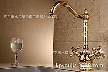 SADASD Badezimmer Waschbecken Wasserhahn voll Kupfer Einfache Mode bad Waschbecken Töpfe Keramik Schieber Home Bad Dekoration Waschbecken Mischbatterie mit Schlauch (heißes und kaltes Wasser)