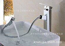 SADASD Badezimmer Waschbecken Wasserhahn voll Kupfer europäischen Antike Einloch Taiwan Topf Keramik Schieber Home Bad Dekoration Waschbecken Mischbatterie mit Schlauch (heißes und kaltes Wasser)