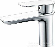 SADASD Badezimmer Waschbecken Wasserhahn voll Kupfer Küche Waschbecken einzigen Griff Keramik Schieber Home Bad Dekoration Waschbecken Mischbatterie mit Schlauch (heißes und kaltes Wasser)