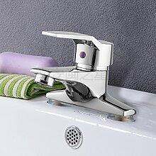 SADASD Badezimmer Waschbecken Wasserhahn voll Kupfer Schwarz Badezimmer Waschbecken gemischt mit einem einzigen Single-Hole Waschbecken Küche qualitativ hochwertige, moderne Home Bad Armatur Bad Sanitär (heißes und kaltes Wasser)