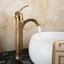 SADASD Einfache Kupfer Waschbecken Armatur chrom Keramik Ventil Warmes und kaltes Wasser Kunst Becken Sitzen einzelne Bohrung Single Waschtischmischer