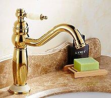 SADASD Europäische heißen und kalten Wasserhahn Waschbecken Wasserhahn Kupfer gold grüne jade Marmor Waschbecken Waschtischarmatur Armatur Einhebelmischer Badarmatur (Rotierende Saphir 1)