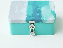 SADASD Geschenk-box Die koreanische Kreative mit Schloss zugeben Patrone kleine Eisen, kleine Box Desktop organisieren Kosmetikkoffer Weißblech Aufbewahrungsbox, kleinen Wald-grünen Kaktus