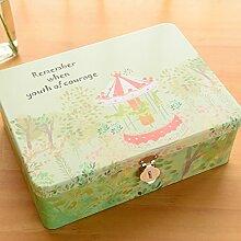 SADASD Geschenk-box Die koreanische Kreative mit Schloss zugeben Patrone kleine Eisen, kleine Box Desktop organisieren Kosmetikkoffer Weißblech Aufbewahrungsbox April Monogatari - Frohe