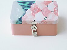 SADASD Geschenk-box Die koreanische Kreative mit Schloss zugeben Patrone kleine Eisen, kleine Box Desktop organisieren Kosmetikkoffer Weißblech Aufbewahrungsbox kleine Wald - rosa Blüten