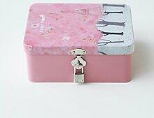 SADASD Geschenk-box Die koreanische Kreative mit Schloss zugeben Patrone kleine Eisen, kleine Box Desktop organisieren Kosmetikkoffer Weißblech Aufbewahrungsbox, kleinen Wald - Rosa Eiffelturm