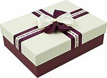 SADASD Geschenk-box Die Steigung rechteckige Bügeleisen Schachtel Kekse Patronen manuell Kekse Valentinstag Geschenkbox Geschenkbox Danke zurück Xxl 34 * 24 * 12 cm M - White Ribbon