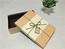 SADASD Geschenk-box Geschenkbox ein rechteckiges Feld mit dem Ende der Schal zum Geburtstag Geschenkbox Geschenkbox Luxus Kassette Fach 28 * 20 * 8,5 Huang weiße Abdeckung (Sisalgarn)