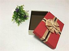 SADASD Geschenk-box Geschenkbox ein rechteckiges Feld mit dem Ende der Schal zum Geburtstag Geschenkbox Geschenkbox Luxus Kassette Fach 23,5 * 16 * 6 rote Abdeckung (Groß)