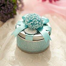 SADASD Geschenk-box Hochzeit Products-Hi Zucker Patrone Weißblech Continental Bügeleisen, Kreative Hochzeit Geschenk Zubehör Serie L (leere Patronen) T blau Pe