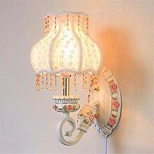SADASD Moderne, einfache Tuch Wandleuchte Schlafzimmer Bett Warm kreative Kinderzimmer Wandleuchte Home Dekoration Flur Lampen, LED-Leuchten