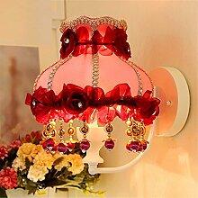 SADASD Pastorale warmen Kinderzimmer Tuch Wandleuchte Prinzessin Zimmer Hochzeit Nachttischlampe Schlafzimmer Dekoration Wand Licht, mit Lichtquelle (3 Watt Lampe LED)
