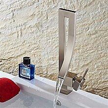 SADASD Waschbecken Wasserhahn Creative Square Waschbecken Kupfer gebürstet Wasserhahn Modern Home Bad Dekoration Single Hole Hot And Cold Wasserhahn Mit 3/8 Schlauch