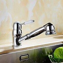 SADASD Waschbecken Wasserhahn Küche Hot And Cold Dishes Bassin Wasserhahn Modern Home Bad Dekoration European Style Pull - Typ Wasserhahn