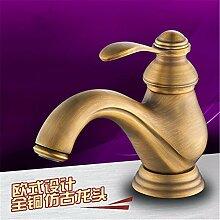 SADASD Waschbecken Wasserhahn Kupfer Europeanal Diamond Antike hohe Qualität Standard Waschbecken im Badezimmer (heißes und kaltes Wasser)
