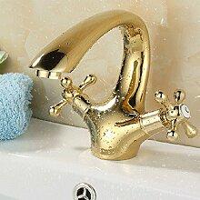 SADASD Wasserhahn American Gold Kupfer Tisch auf dem Waschbecken Waschtisch Armatur Waschbecken Waschbecken Waschbecken im europäischen Stil mit warmen und kalten Einloch Mischbatterie Gold