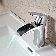 SADASD Wasserhahn warmes und kaltes Becken Kupfer Wasserfall Armatur Wasserhahn Bad Waschbecken Waschbecken plus Topf Waschbecken Wasserhahn