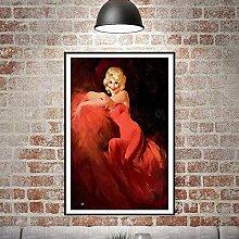 SADHAF Elegante Frau Poster Kunstdruck Malerei