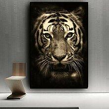 SADHAF Schwarz-Weiß-Tiger Wildtier Leinwand Kunst
