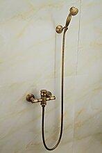 saejj-antique Kupfer Badezimmer einfach retro Bambus Dusche Dusche Set Continental Pastoral verdeckter mischen Ventil, Golden